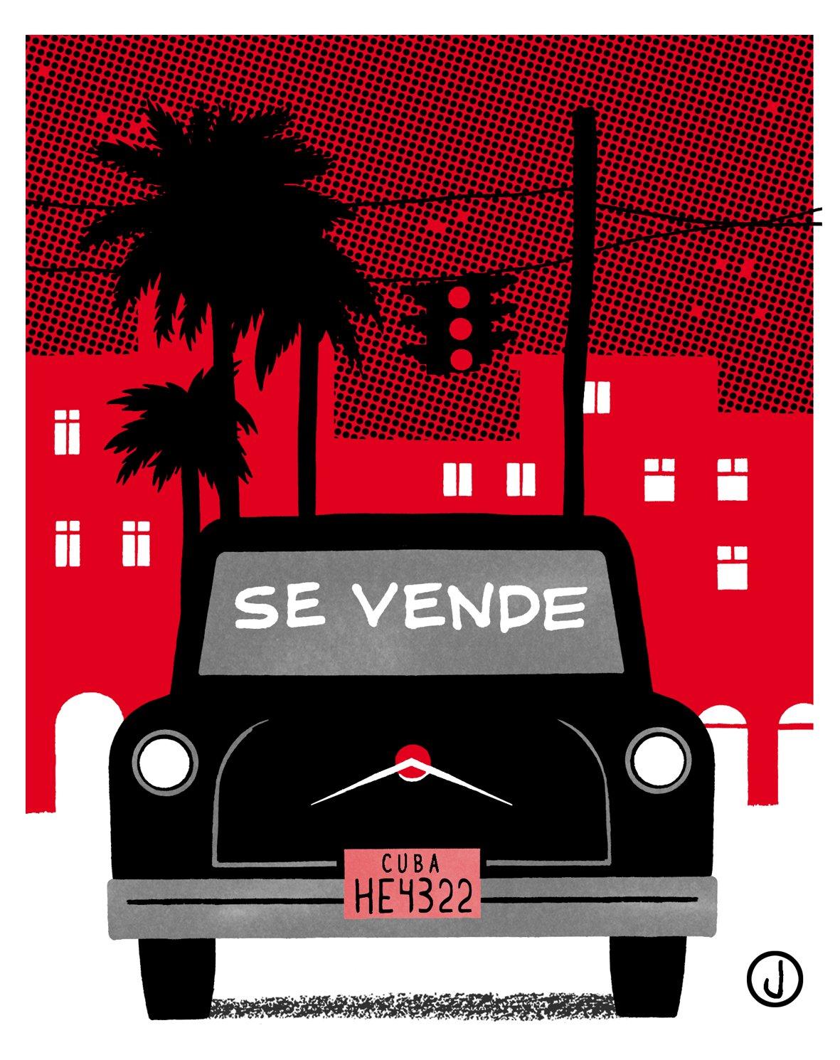 """Hace unos días he conseguido por fin un carrito cubano para alquilar unos meses"". Ilustración de Jano"